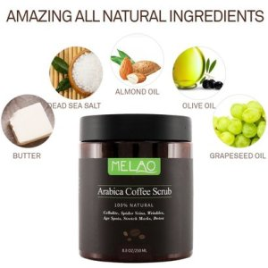 melao pure arabica coffee scrub 100% natural exfoliating coffee body scrub coconut and shea butter for cellulite, spider veins, wrinkles, age spots, stretch marks, detox