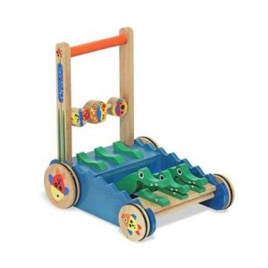melissa and doug first play deluxe chomp and clack alligator wooden push toy and activity walker