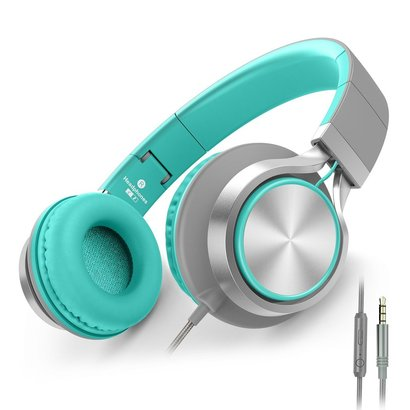 ailihen c8 folding headphones with microphone and volume control, compatible with multiple devices