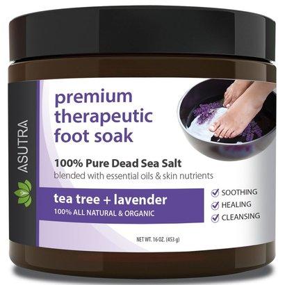 "asutra premium therapeutic foot soak ""tea tree and lavender"" with free pedicure pumice stone 100% pure dead sea salt"