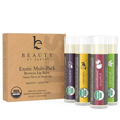 beauty by earth organic flavors beeswax lip balm multi pack of 4 tubes with acai berry, asian pear, grapefruit, pomegranate, and green tea