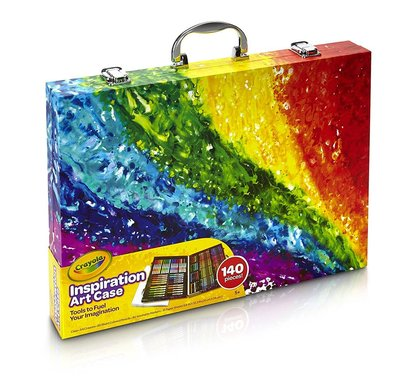 crayola inspiration art case - 140 pieces, art gift set for kids and adults includes 15 sheets of drawing paper and snap-fit tray