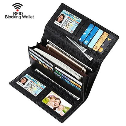 dante roomy rfid blocking leather trifold clutch checkbook wallet for women with shield against identity theft