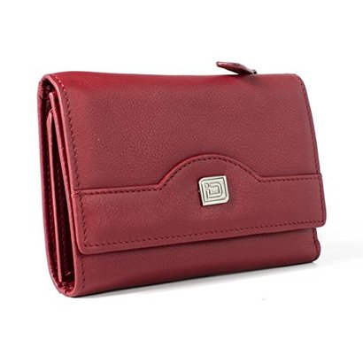 identity stronghold women's rfid compact leather trifold wallet