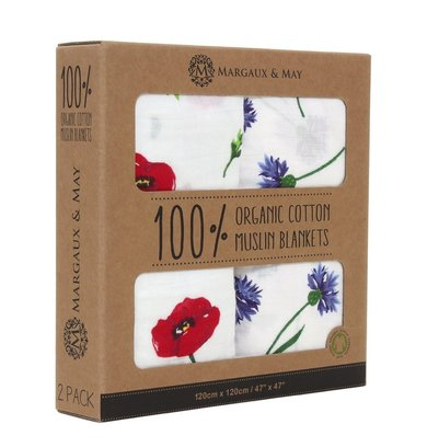 margaux & may 100% organic cotton muslin blanket for babies, large swaddling blankets 120cm x 120cm