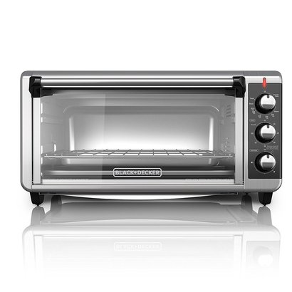 black + decker to3250xsb extra-wide 8-slice convection countertop toaster oven with four different functions and three rack positions