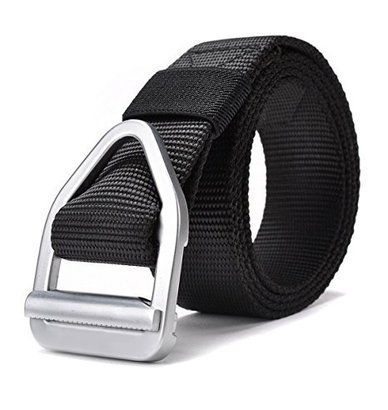 jasgood men's alloy buckle belt for every occasion with real and breathable thicken nylon strap