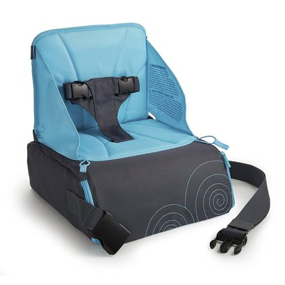 munchkin brica goboost travel booster seat includes storage for bottles, diapers and more