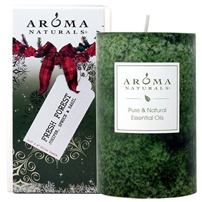 aroma naturals juniper, spruce and basil, fresh forest pure and natural essential oil holiday pillar candle
