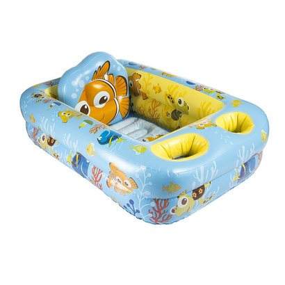 disney baby finding nemo inflatable safety bathtub supportive back and headrest with water temperature display and storage pockets