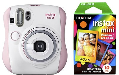 fujifilm instax mini 26 instant camera with 10 sheets rainbow film