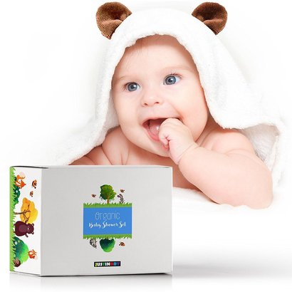 justinbby organic baby shower set includes bamboo hooded towel, wooden teether and holder pacifier, ideal gift for babies