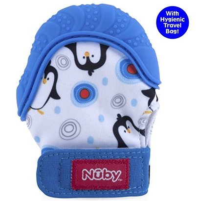 nuby soothing teething mitten with silicone teething surfaces, crinkling sound and hygienic travel bag