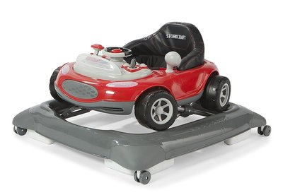 storkcraft mini-speedster activity walker with removable, light-up dashboard and steering wheel