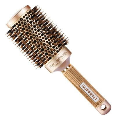 suprent round barrel hair brush with boar bristle and ionic technology