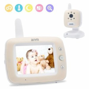 aivn digital baby monitor with 3.5''lcd display, infrared night vision, two-way talk, lullaby songs, digital zoom and temperature display