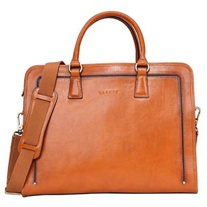 banuce full grain natural cowhide leather briefcase for women 14 inch laptop case bag with adjustable and detachable shoulder strap with leather pad