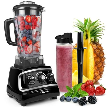 cosori c700-pro 1500w pro-class blender includes 64 oz blending jar, 27 oz travel bottle, tamper, cleaning brush and recipe book