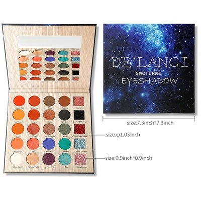 de'lanci nocturne eyeshadow makeup set with mirror and 25 highly pigmented color includes 10 matte colors, 10 shimmer and 5 colors press glitter eyeshadows