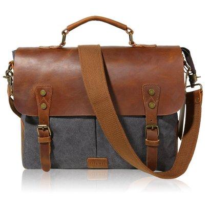 lifewit genuine leather vintage laptop bag with handles and adjustable shoulder strap