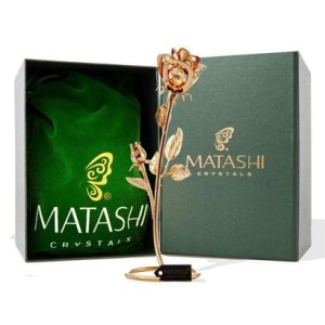 "matashi double rose crystal studded ""loving flower ornament"" dipped in 24k gold in luxury gift box"