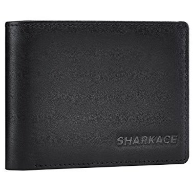 sharkace rfid blocking, leather wallet with polyester inner lining and id window flap, large capacity wallet for men in gift box