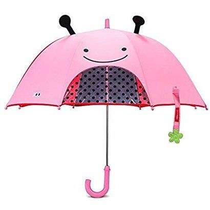 skip hop zoobrella little kid umbrella with peek-a-boo window and zoo raincoat
