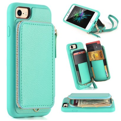 zve club iphone 7 and iphone 8 leather wallet case with ykk zipper function and anti-lost lanyard