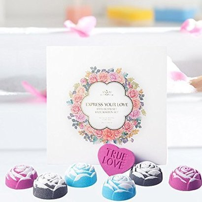 anjou rose bath bomb gift set includes six playful and colorful bath bombs and one heart shaped bomb