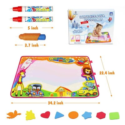 betheaces large size aqua magic drawing mat includes magic brush, two magic pens and eight drawing mold for age 2+