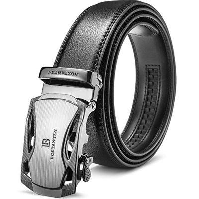 bostanten men's genuine leather ratchet dress belt with automatic sliding silver buckle