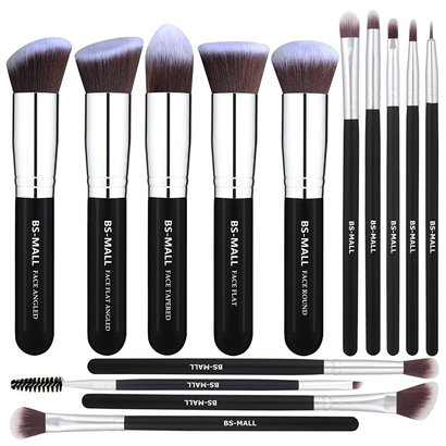 bs-mall makeup brush set includes 14 pieces synthetic face brushes