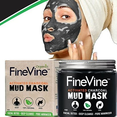 finevine 100% natural activated charcoal dead sea mud mask for face and body detox, deep cleanse and pore minimizer