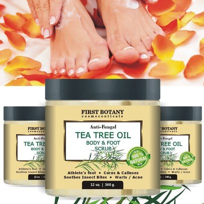 first botany cosmeceuticals natural anti fungal tea tree oil body and foot scrub for warts and acne, corns and calluses, athlete's foot and soothes insect bites 12 oz