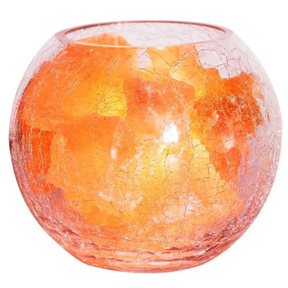 homepro natural himalayan crystal salt lamp, salt chunks in glass bowl with adjustable light includes 2 of 15w light bulb