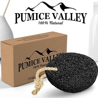 pumice valley 100% natural pure earth lava pumice stone pedicure tool black volcanic rock callus remover with jute rope