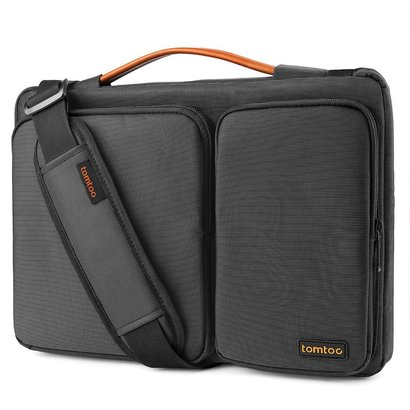 tomtoc exclusive patent 13 - 13.5 inch laptop shoulder bag with spill-resistant material, cornerarmor rubber material and self-locking zipper
