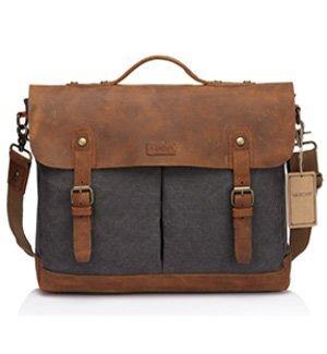vaschy 15.6 inch leather laptop messenger bag vintage briefcase shoulder bag