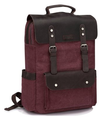 vaschy vintage leather canvas 15.6 inch laptop backpack for women and men
