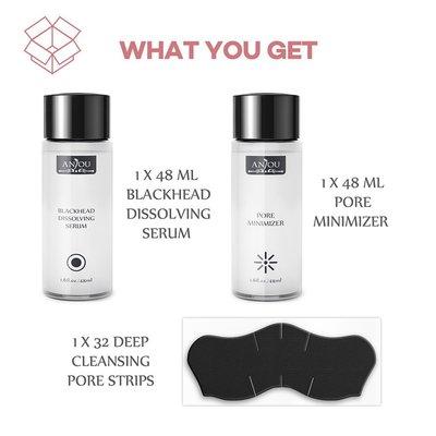 anjou blackhead removing kit with blackhead dissolving serum, pore minimizer and deep cleansing pore strips