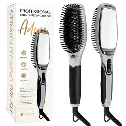 asavea adore professional straightening brush with 360° anti-scald bristles and ionic generator includes built-in mirror