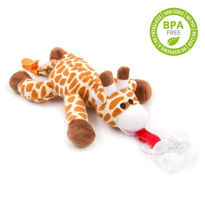 babyhuggle detachable silicone pacifier includes giraffe plush toy, pacifier and clip 100% safe and non-toxic