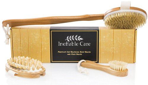 ineffable care premium dry brushing body and face brush with 100% natural boar bristles