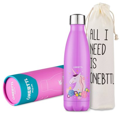onebttl aqua unicornpower stainless steel double walled vacuum insulated 17oz water bottle for kids unique gift for unicorns lovers