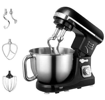 aicok 500 watts 5 quart tilt-head, 6 speed stand mixer includes double dough hook, flat beater and stainless steel wire whip