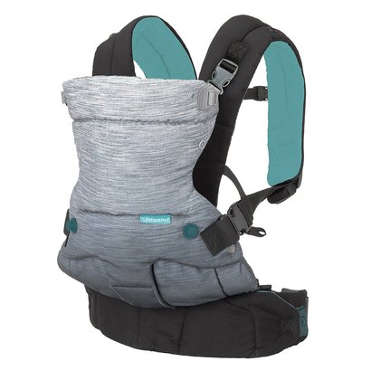 infantino go forward evolved ergonomic carrier with 4 ergonomic ways to carry includes muslin hood and silicone teether