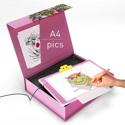 paintinc tracing led light pad with 3 light modes for stenciling, 2D animation, calligraphy, embossing, tattoo transferring and etc perfect gift idea for children