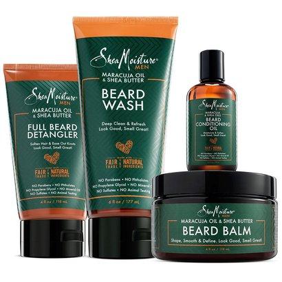sheamoisture maracuja oil and shea butter complete beard kit includes beard balm, beard conditioning oil, beard wash and full beard detangler