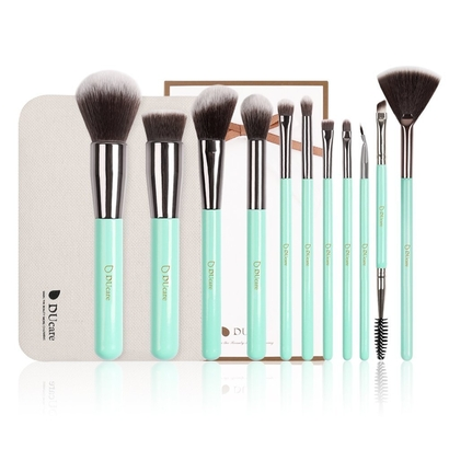 ducare 11 piece mint green makeup brush set with synthetic cruelty-free bristles includes carrying case