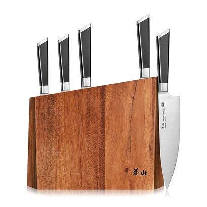 cangshan y2 series 59212 handcrafted and hand sharpened 6-piece german steel forged knife block set